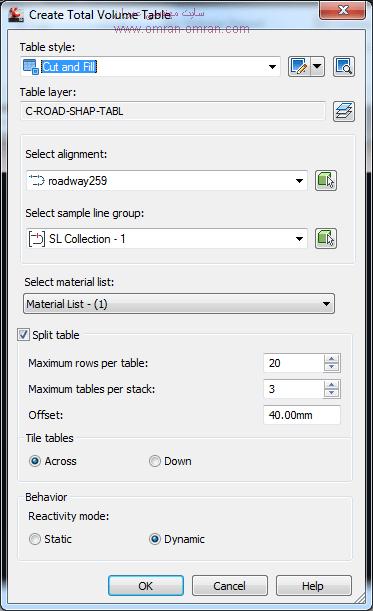 پنجره ی تنظیمات جدول حجم عملیات خاکی