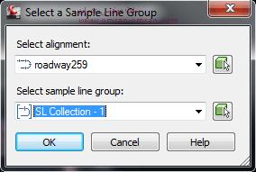 Roadway259 را به عنوان Alignment و SL Collection 1 را به عنوان SampleLineGroup انتخاب کنید